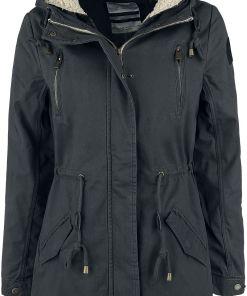 Urban Surface Ladies Long Parka Girl-Winter-Jacke schwarz