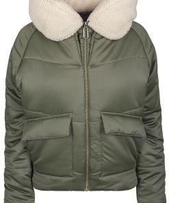 Urban Classics Ladies Sherpa Hooded Jacket Girl-Winter-Jacke oliv/beige