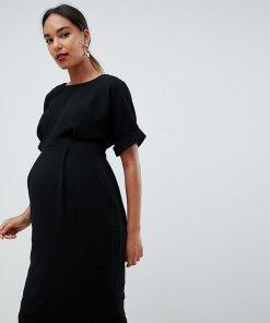 ASOS DESIGN Maternity - figurbetontes Midikleid - Schwarz