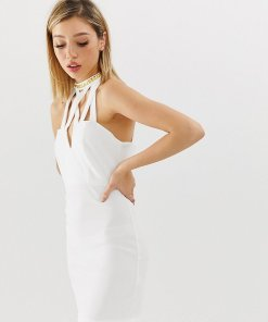 ASOS DESIGN Petite - figurbetontes Minikleid mit Ziernietentrim - Weiß