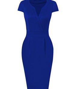 KOJOOIN Damen Elegant Etuikleider Knielang Kurzarm Business Kleider Empire Blau XL