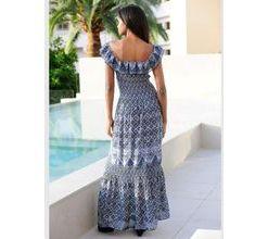 Damen Kleid Alba Moda blau-weiß