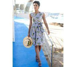 Damen Strandkleid Alba Moda blau-weiss