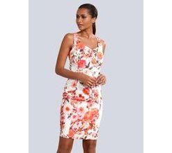 Damen Kleid Alba Moda Weiß/Koralle