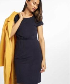Only Frauen Kleid mit kurzen Ärmeln Rundhalsausschnitt Rückenfrei in blau