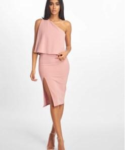 Missguided Frauen Kleid Crepe One Shoulder Overlay Split Midi in rosa