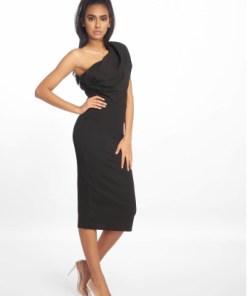 Missguided Frauen Kleid One Shoulder Midi in schwarz
