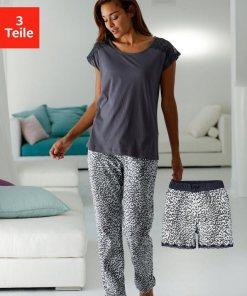 Vivance Dreams Pyjama, in Leomuster mit Spitze 893166