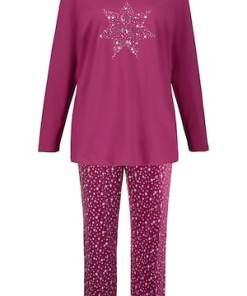 Ulla Popken Pyjama, Sterne, reine Baumwolle, bis Gr. 66/68 - Große Größen 713282