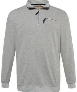 Ulla Popken Sweatshirt, gerippt, Kragen und Pocket mit Zipper - Große Größen 714231