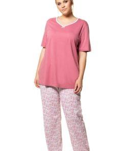 Ulla Popken Pyjama, Aquarellblumen, V-Ausschnitt, bis Gr. 66/68 - Große Größen 717828