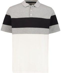Ulla Popken Poloshirt, Colorblocking, 3-farbig, Piqué - Große Größen 720312