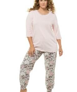 Ulla Popken Pyjama, Blütenmuster, reine Baumwolle, bis Gr. 66/68 - Große Größen 720896