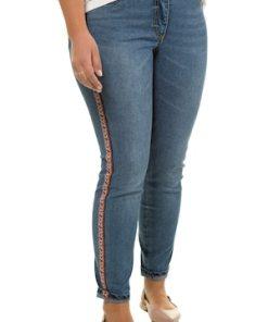 Ulla Popken Skinny Jeans mit Ethno Seitenstreifen - Große Größen 721362