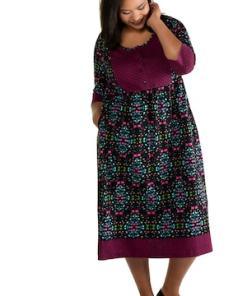 Ulla Popken Jerseykleid, gemustert, Empire-Modell, 3/4-Arm - Große Größen 722770