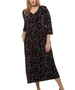 Ulla Popken Jerseykleid, gemustert, Empire-Modell, schnelltrocknend - Große Größen 722799
