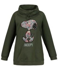 Ulla Popken Sweatshirt, XL-Blüten-Snoopy, weiter Stehkragen - Große Größen 724403