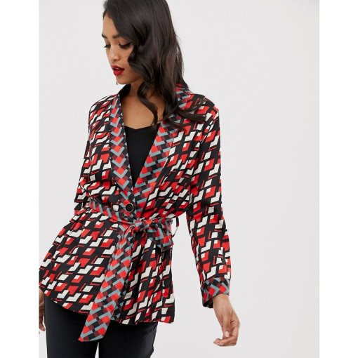 Closet - Kimono-Jacke mit Bindegürtel - Rot