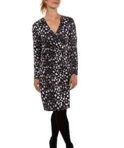 Gina Laura Damen Kleid, grafisches Muster, Wickeleffekt, Jersey, lila, Polyester/Elasthan