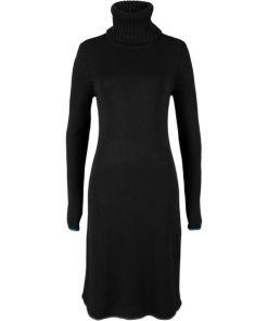 Strickkleid mit Kontraststreifen langarm in schwarz für Damen von bonprix