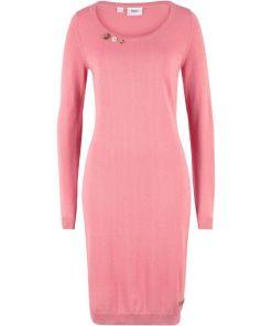 Strickkleid mit Zierknöpfen langarm in rosa für Damen von bonprix