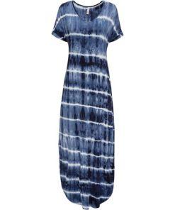 Maxikleid kurzer Arm in blau (V-Ausschnitt) für Damen von bonprix