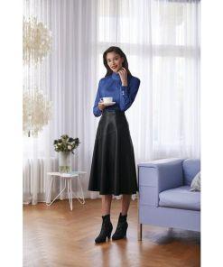 heine TIMELESS Lederrock in ausgestellter Form, schwarz