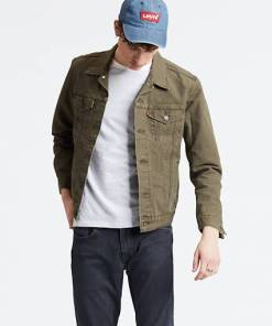 The Trucker Jacket - Grün / Olive Night Canvas Trucker
