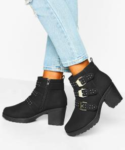 Womens Chelsea-Boots mit Blockabsatz, Nieten und Schnallen - schwarz - 36, Schwarz