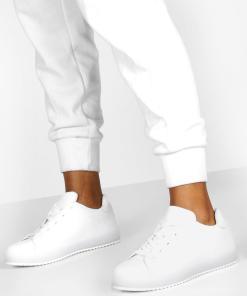 Womens Flache Sneaker zum Schnüren mit transparenter Sohle - Weiß - 37, Weiß