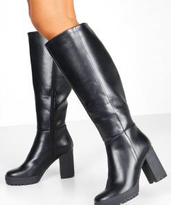 Womens Overknee-Stiefel mit klobiger Profilsohle - schwarz - 36, Schwarz