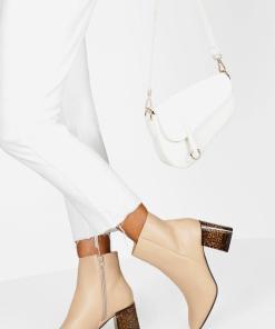 Womens Stiefeletten mit Blockabsatz aus Schildpatt - hautfarben - 36, Hautfarben