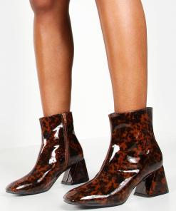 Womens Ankle Boots mit Diabolo-Absatz und Schildpattoptik - Braun - 36, Braun