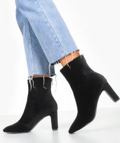 Womens Ankle Boots aus Cord mit niedrigem Absatz - schwarz - 36, Schwarz