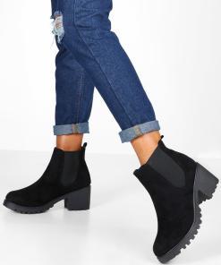 Womens Chelsea-Boots mit dicker Profilsohle - schwarz - 36, Schwarz