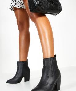 Womens Ankle Boots im Western Style - schwarz - 36, Schwarz