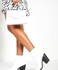 Womens Ankle Boots im Western Style - Weiß - 36, Weiß