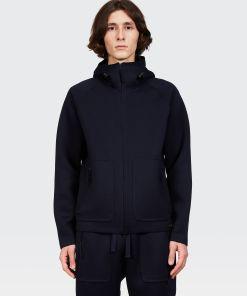 Aspesi Strickware & Oberbekleidung - Mantel mit Kapuze aus Jersey NAVYBLAU 68% Polyester 27% Viskose 5% Polyurethan XXL