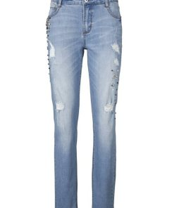 heine CASUAL Boyfriend-Jeans mit Schmuckbesatz blau