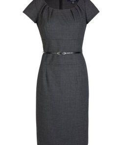 Daniel Hechter Woll-Kleid mit Taillengürtel grau