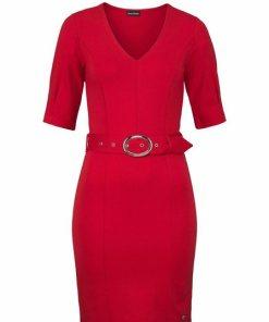 Bruno Banani Jerseykleid mit Gürtel rot