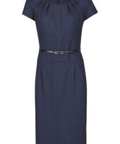 Daniel Hechter Woll-Kleid mit Taillengürtel blau