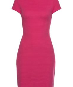 LASCANA Partykleid in elastischer Rippware rosa