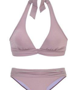 LASCANA Triangel-Bikini mit trendiger Raffung natur