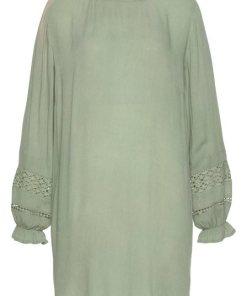 LASCANA Blusenkleid mit Spitzeneinsätzen am Ärmel grün