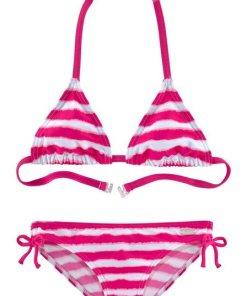 Buffalo Triangel-Bikini in trendiger Streifen-Optik rosa