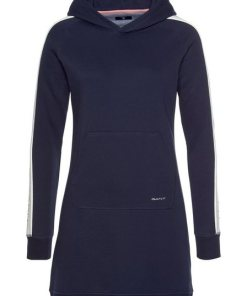 Gant Sweatkleid mit Kontraststreifen und Logodruck am Ärmel blau