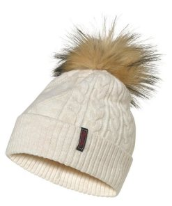 Superdry Strickmütze (1-St) Lannah Cable Beanie  Fake Fur Bommel