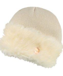 Regatta Strickmütze »Damen Baumwolljersey-Mütze Luz mit Kunstfell-Besatz« natur