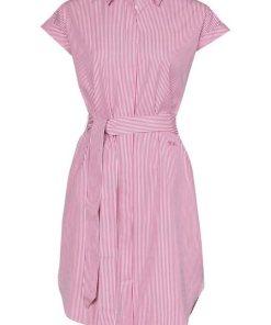 TOMMY HILFIGER Blusenkleid »TH ESSENTIAL« in klassischer Längsstreifen-Optik  Tommy-Streifen am Kragen rosa